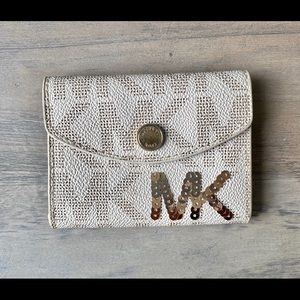 Michael Kors White Saffiano Business Card Holder